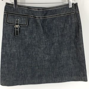 Michael Kors Denin Faux Leather Trim Skirt (P2028)